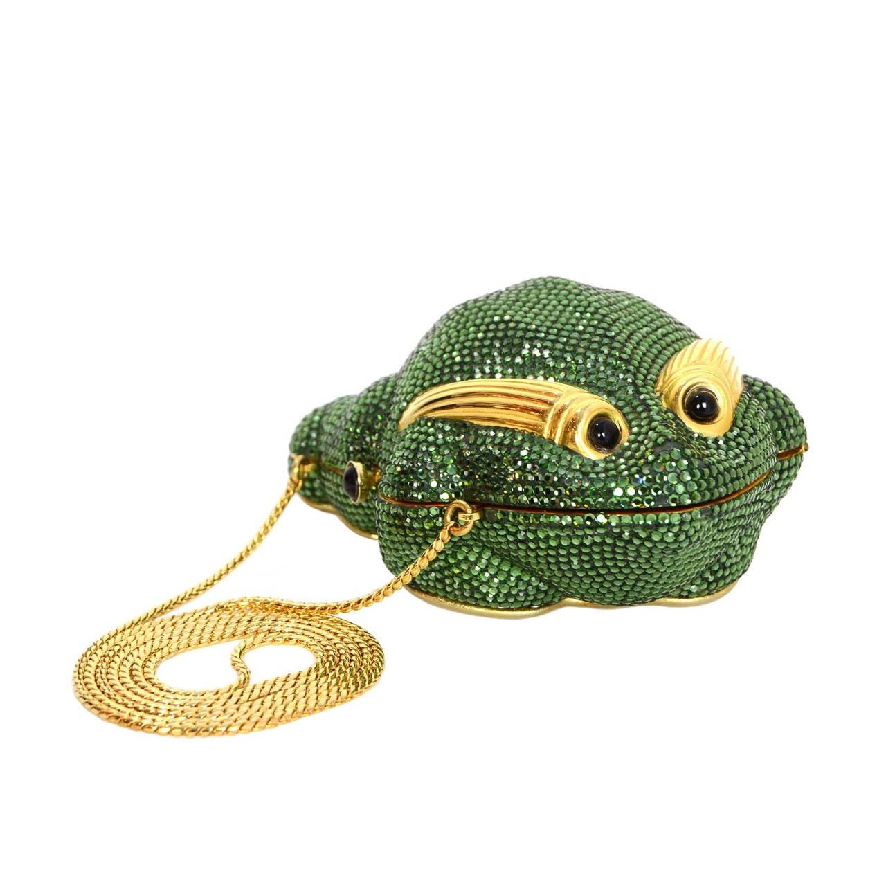 Judith Leiber Green Crystal Frog Minaudiere Bag GHW 1