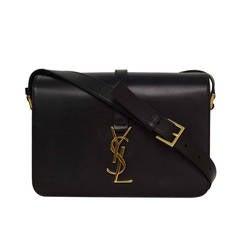 YVES SAINT LAURENT YSL Black Leather Sac Universite Crossbody Bag GHW