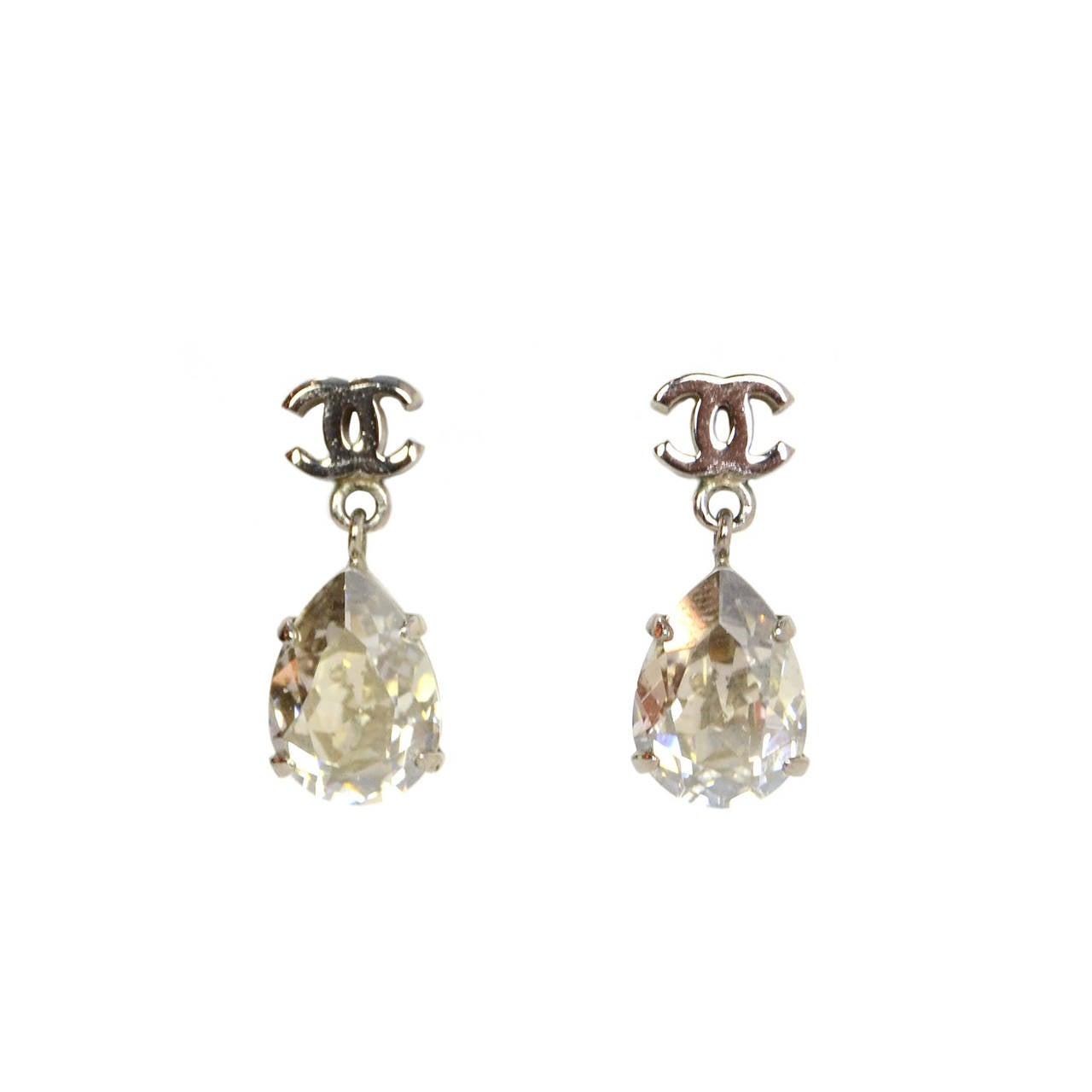 Chanel Crystal & Silver Cc Tear Drop Earrings 1