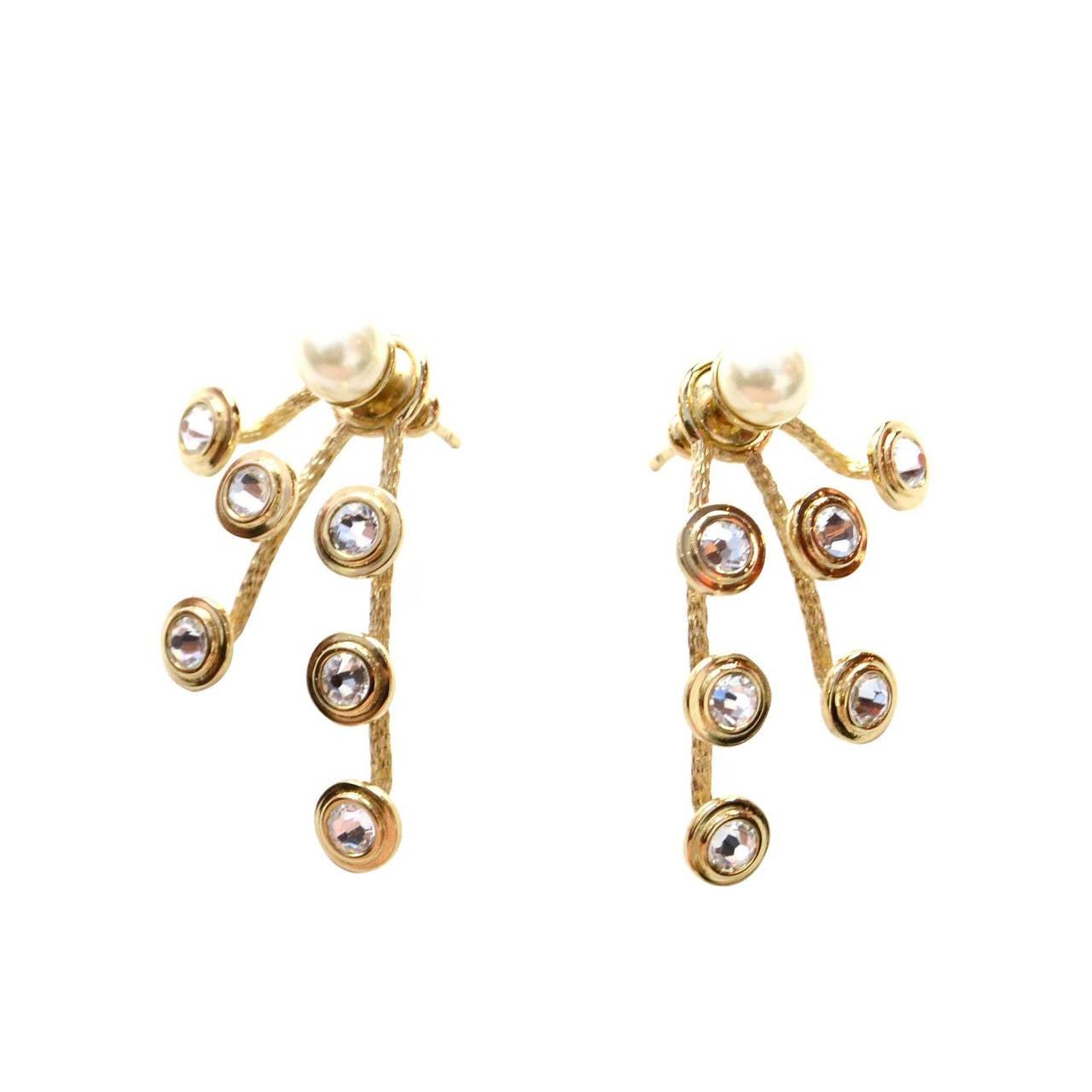 Christian Dior Mise En Dior Pearl & Crystal Earrings 1