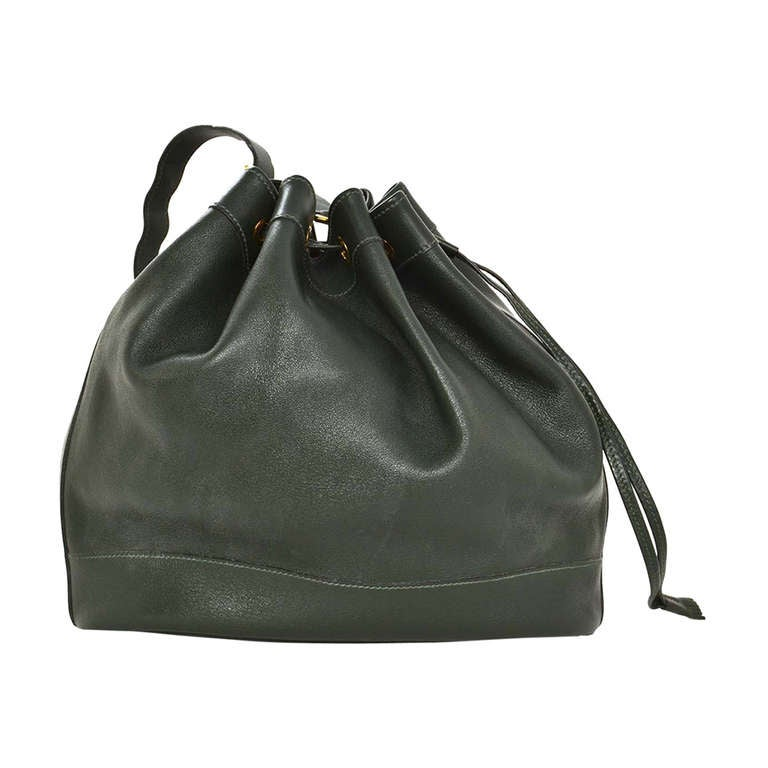 kelly green leather purse - Hermes 1992 Drawstring Dark Green Leather Market Bag at 1stdibs