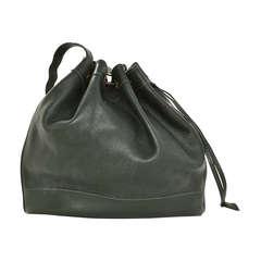 Hermes 1992 Drawstring Dark Green Leather Market Bag