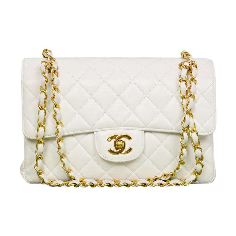 Chanel 1995 2in1 White Quilted Leather Double Sided Classic Flap Bag w Chain 1
