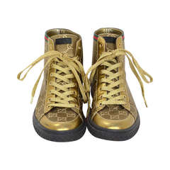GUCCI Gold Canvas High Top Monogram Sneakers Sz 7