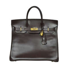 Hermes Brown Box Leather Hac Birkin Bag C. 2007