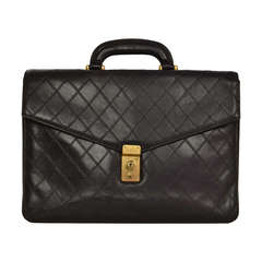 Chanel 1980's Black Vintage Quilted Leather Attache Briefcase Bag