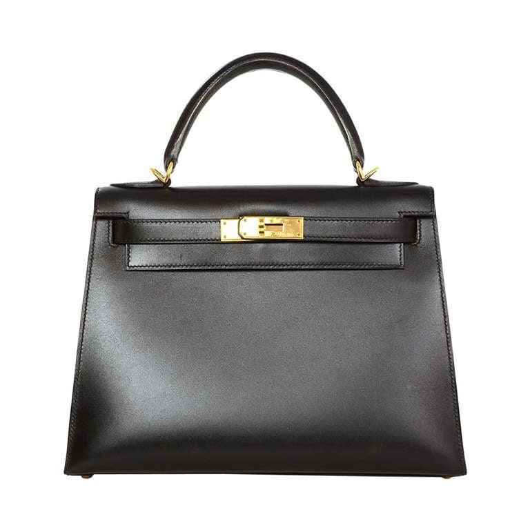 Hermes 2001 28cm Black Box Leather Rigid Kelly Bag GHW 1