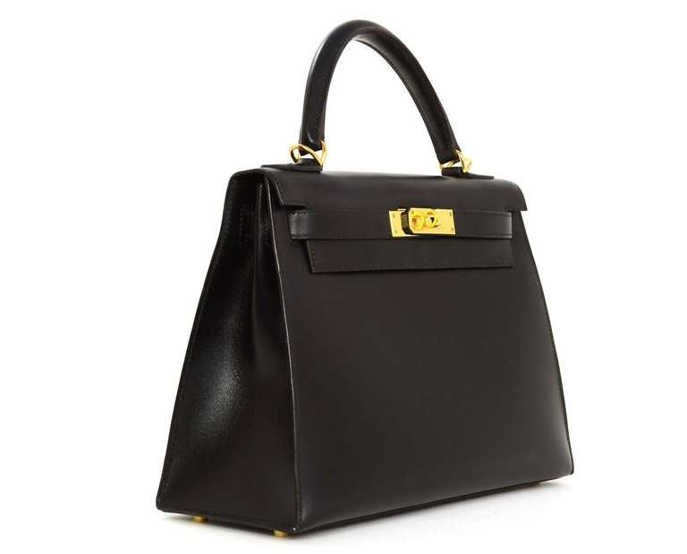 Hermes 2001 28cm Black Box Leather Rigid Kelly Bag GHW 2