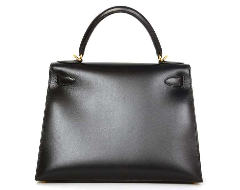 Hermes 2001 28cm Black Box Leather Rigid Kelly Bag GHW 3