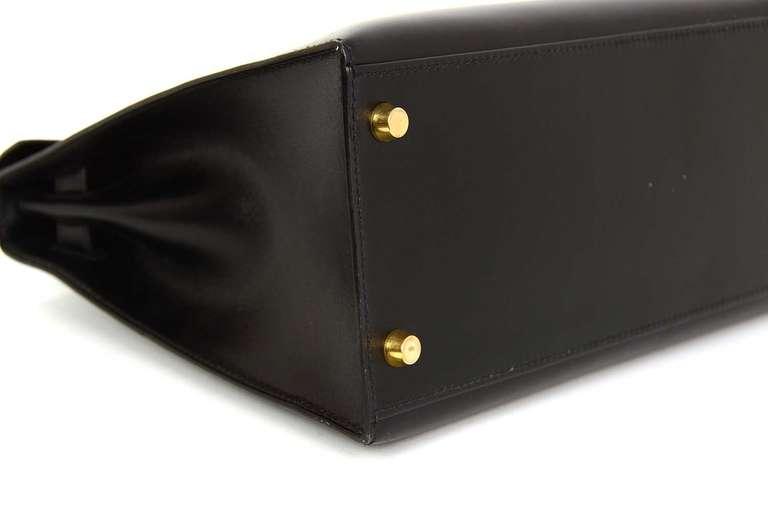 Hermes 2001 28cm Black Box Leather Rigid Kelly Bag GHW 4