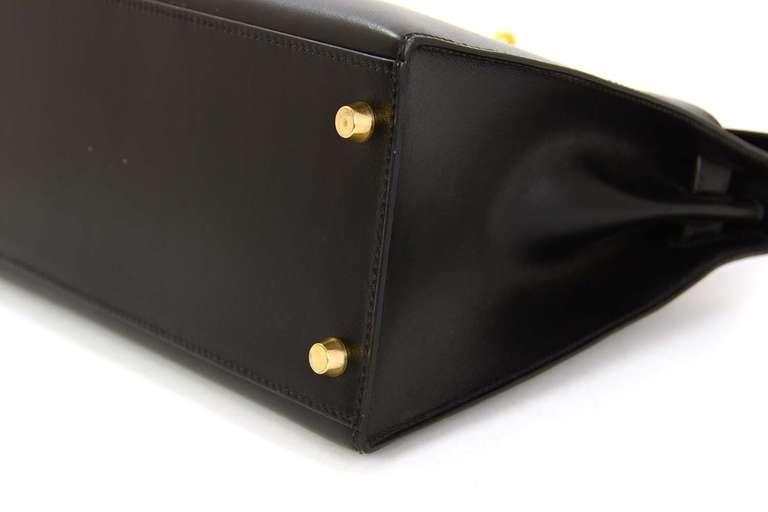 Hermes 2001 28cm Black Box Leather Rigid Kelly Bag GHW 5