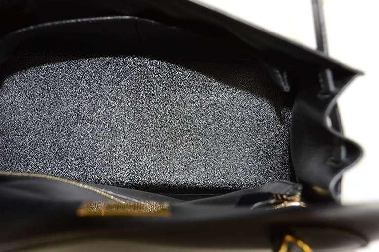 Hermes 2001 28cm Black Box Leather Rigid Kelly Bag GHW 6
