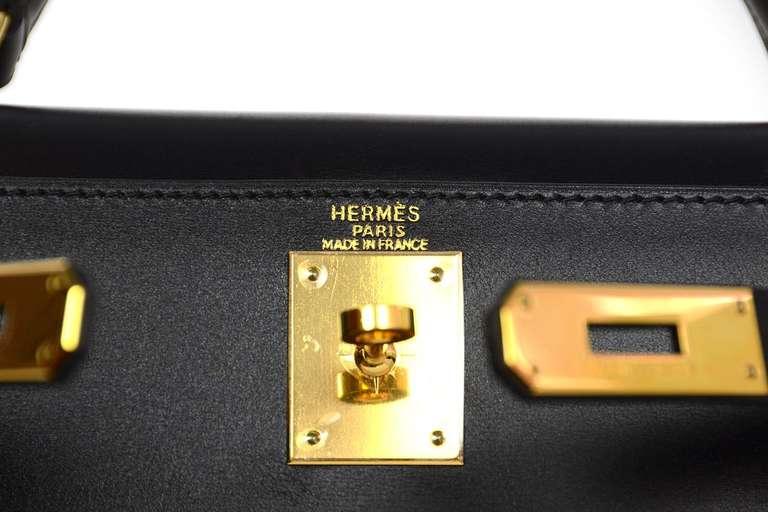 Hermes 2001 28cm Black Box Leather Rigid Kelly Bag GHW 7