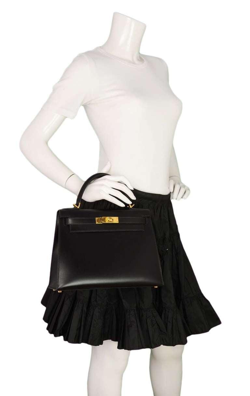 Hermes 2001 28cm Black Box Leather Rigid Kelly Bag GHW 10