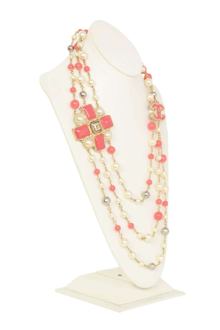 Chanel Peach and Ivory Multi-Strand Pearl & Enamel Maltese Cross Necklace 2
