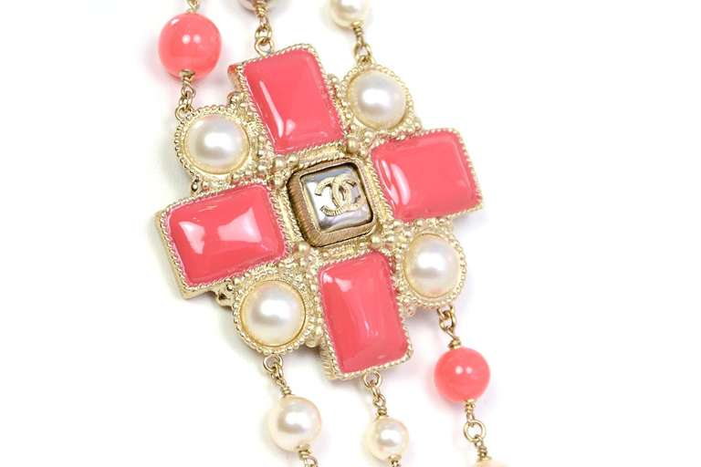 Chanel Peach and Ivory Multi-Strand Pearl & Enamel Maltese Cross Necklace 3
