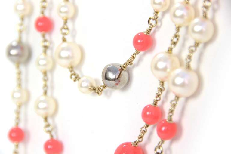 Chanel Peach and Ivory Multi-Strand Pearl & Enamel Maltese Cross Necklace 4