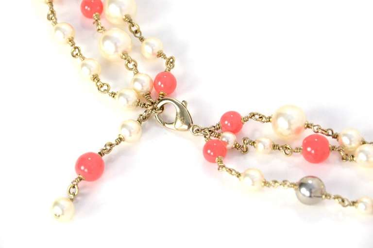 Chanel Peach and Ivory Multi-Strand Pearl & Enamel Maltese Cross Necklace 5