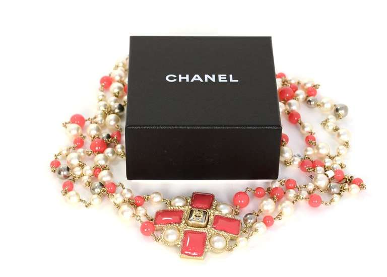 Chanel Peach and Ivory Multi-Strand Pearl & Enamel Maltese Cross Necklace 8