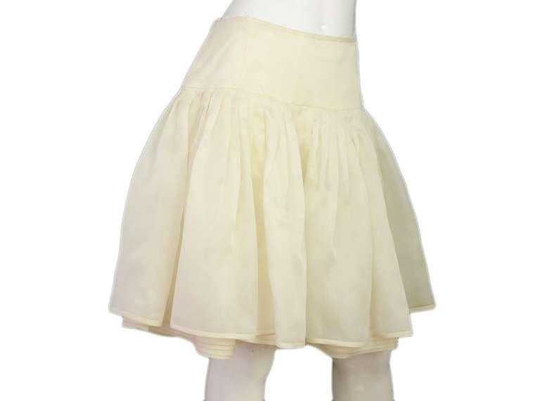 RALPH LAUREN Ivory Silk Pleated Organza Skirt Sz 12 Rt. $2,750 2