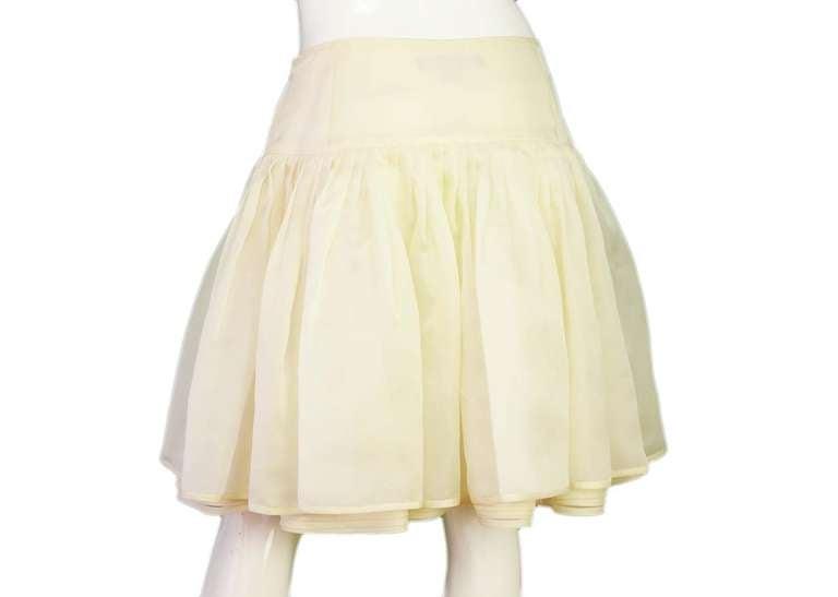 RALPH LAUREN Ivory Silk Pleated Organza Skirt Sz 12 Rt. $2,750 4