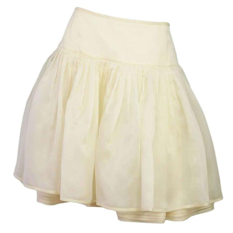 RALPH LAUREN Ivory Silk Pleated Organza Skirt Sz 12 Rt. $2,750 1