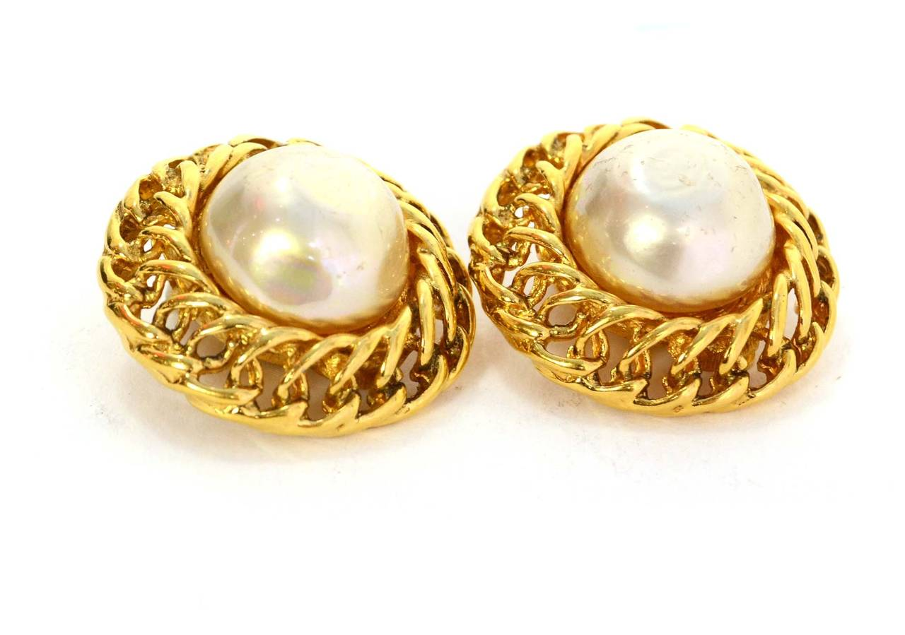 Chanel Vintage 70s 80s Pearl Gold Clip On Earrings Made In France