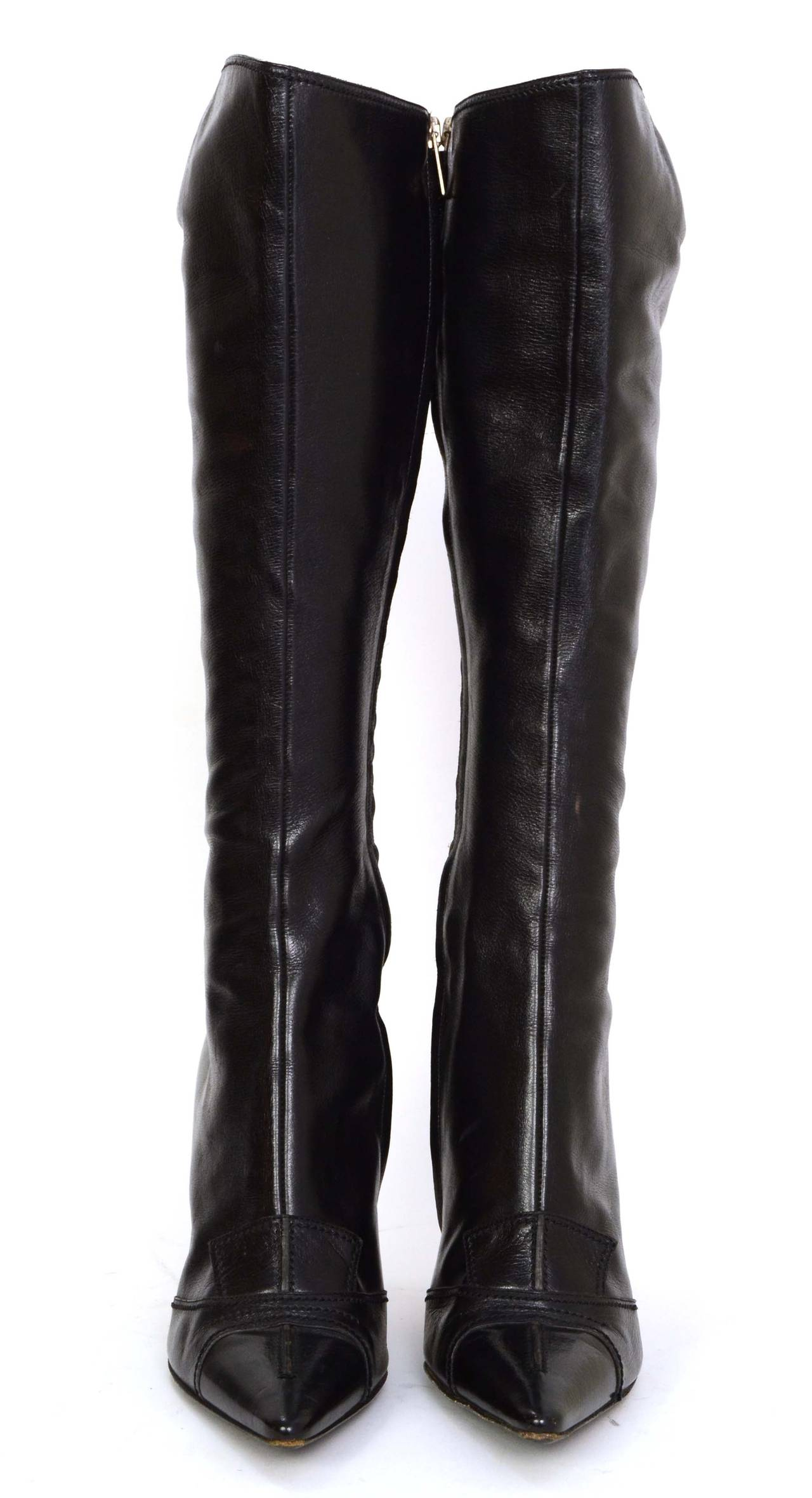 YVES SAINT LAURENT YSL Black Leather Tall Boots sz 37.5 2