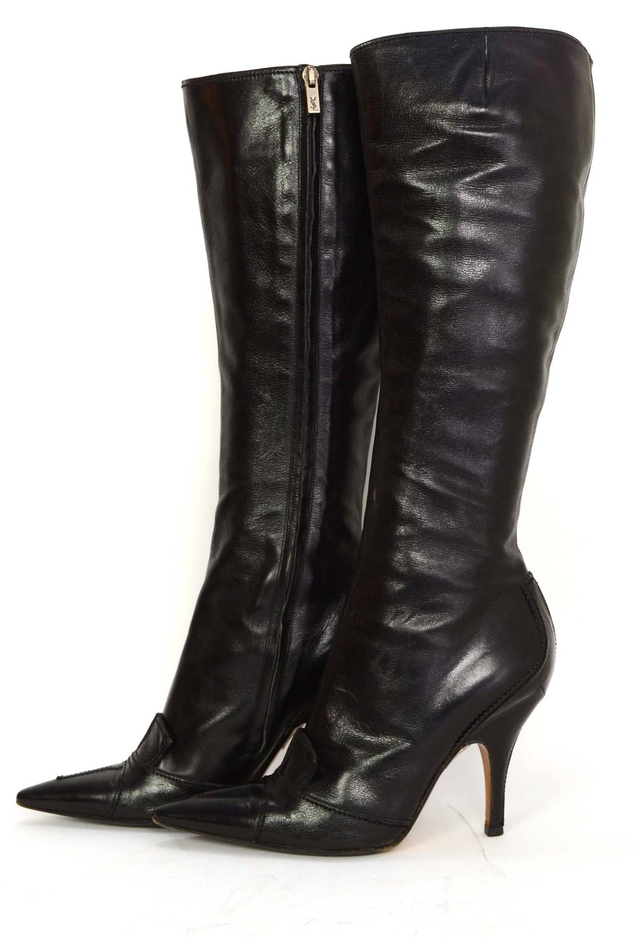 YVES SAINT LAURENT YSL Black Leather Tall Boots sz 37.5 3
