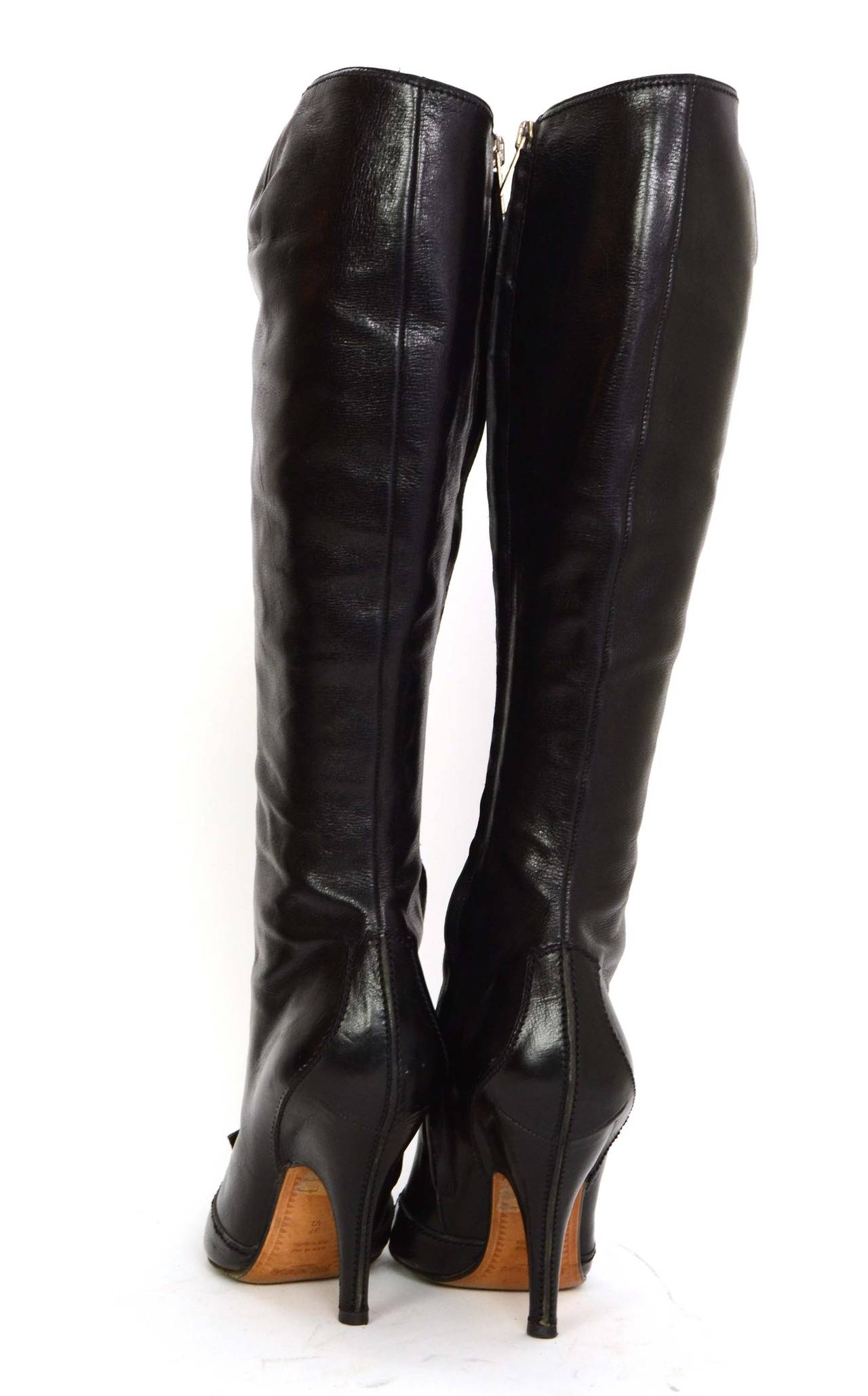 YVES SAINT LAURENT YSL Black Leather Tall Boots sz 37.5 4