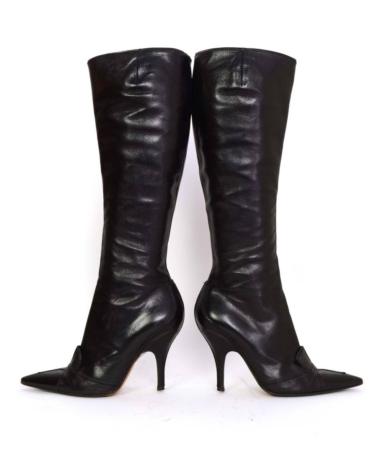 YVES SAINT LAURENT YSL Black Leather Tall Boots sz 37.5 5