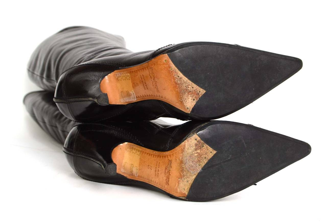 YVES SAINT LAURENT YSL Black Leather Tall Boots sz 37.5 6