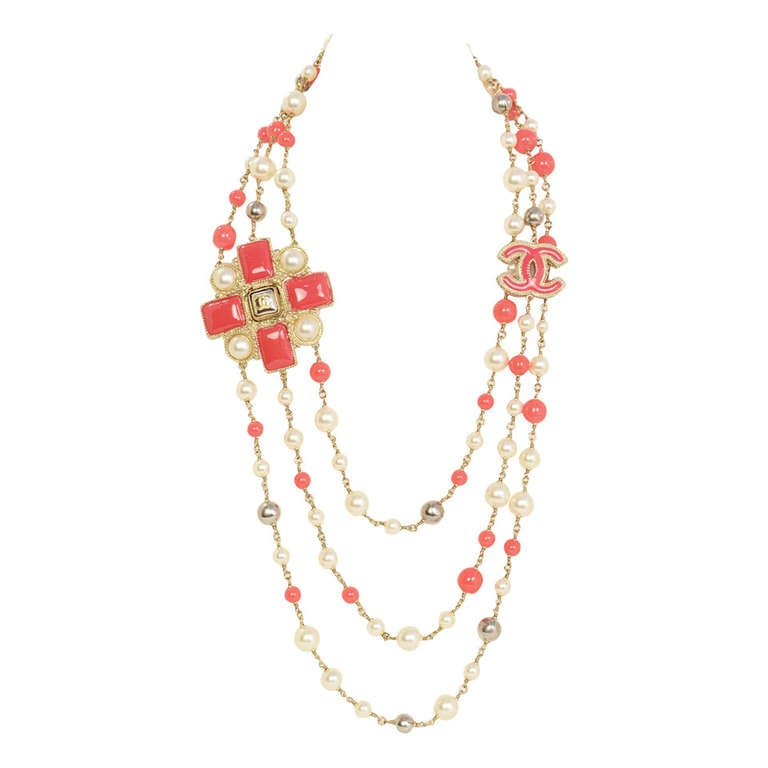 Chanel Peach and Ivory Multi-Strand Pearl & Enamel Maltese Cross Necklace 1