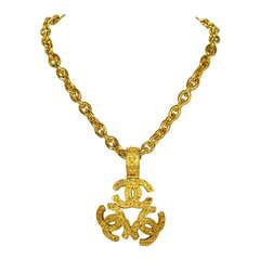 Chanel 1994 Goldtone Chain Triple CC Medallion Necklace