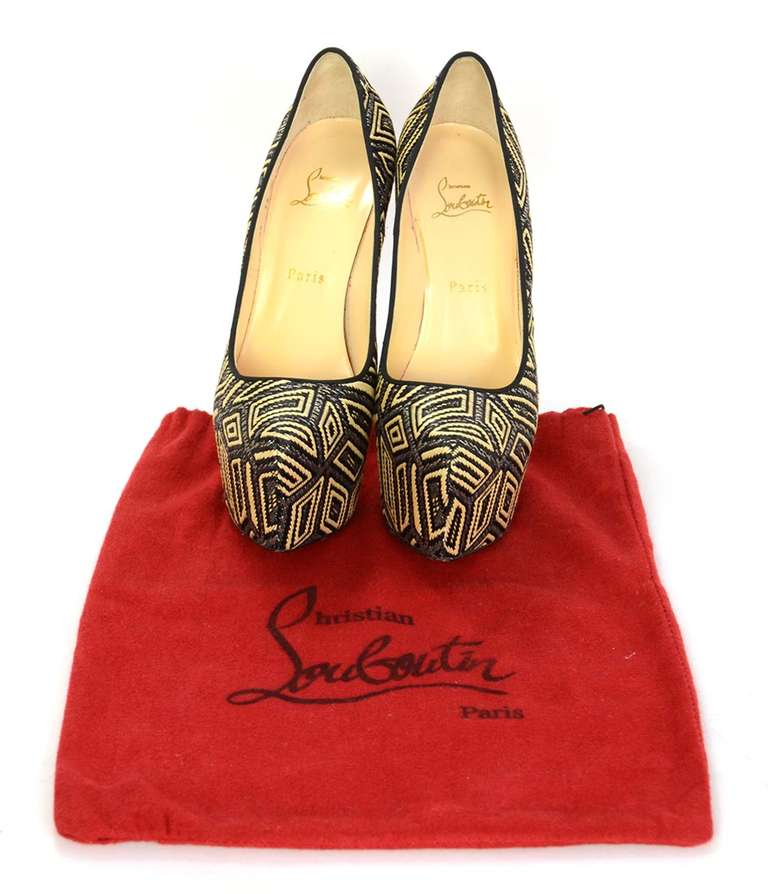 CHRISTIAN LOUBOUTIN Woven Raffia Daffodil Platform Shoes Sz 39 1/2 7