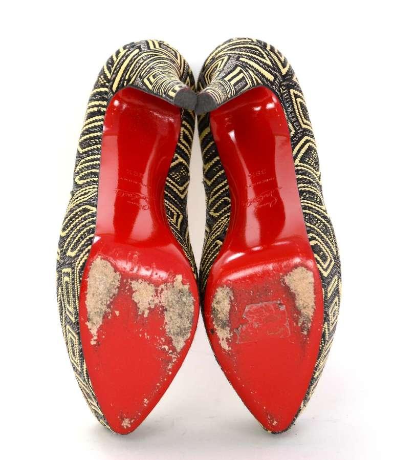CHRISTIAN LOUBOUTIN Woven Raffia Daffodil Platform Shoes Sz 39 1/2 5