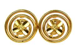 Chanel 1993 Extra Large Swirl Clip On Earrings w CC Clover