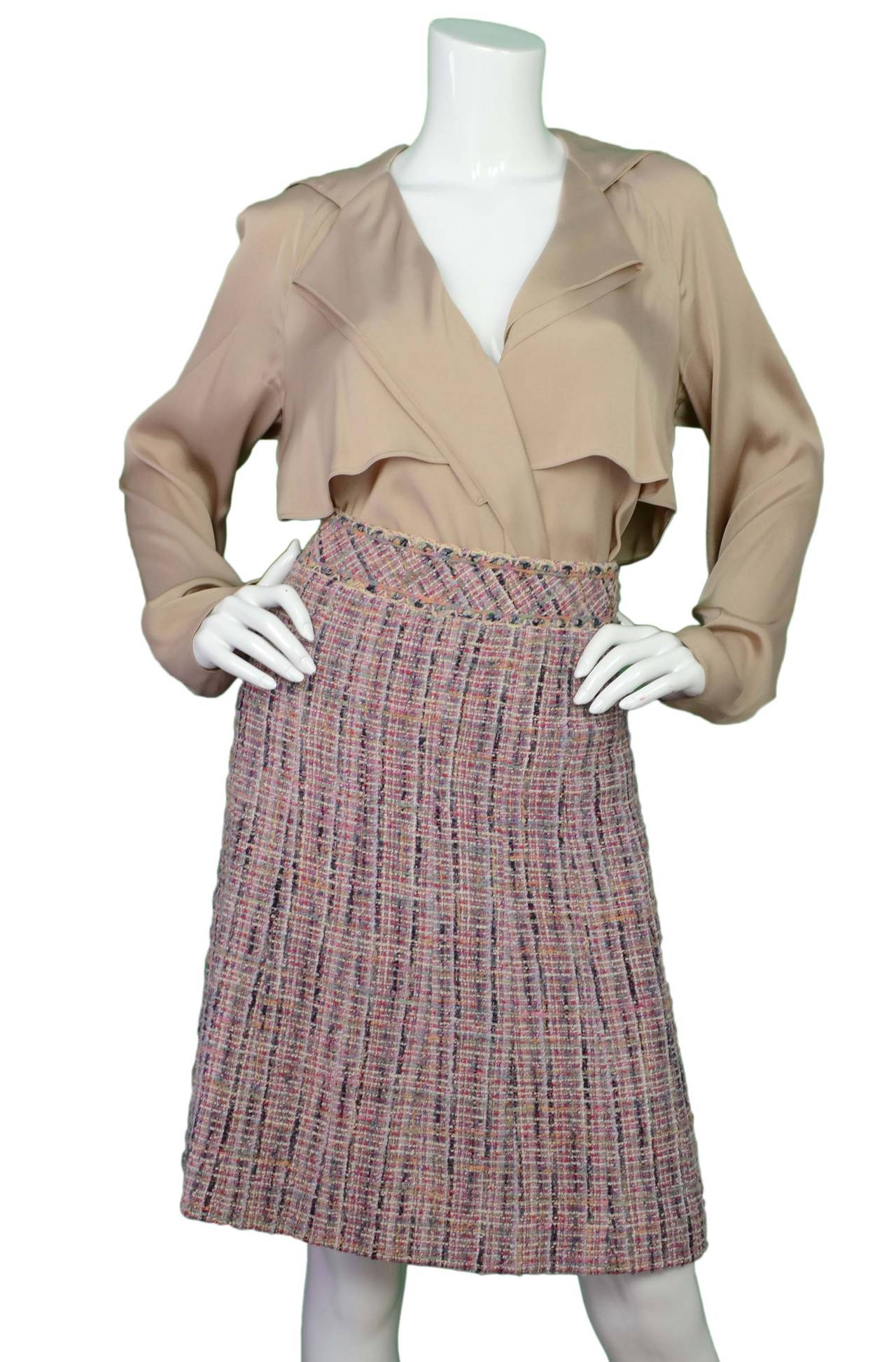 CHANEL Multi-Colored Tweed A-Line Skirt sz 34 4