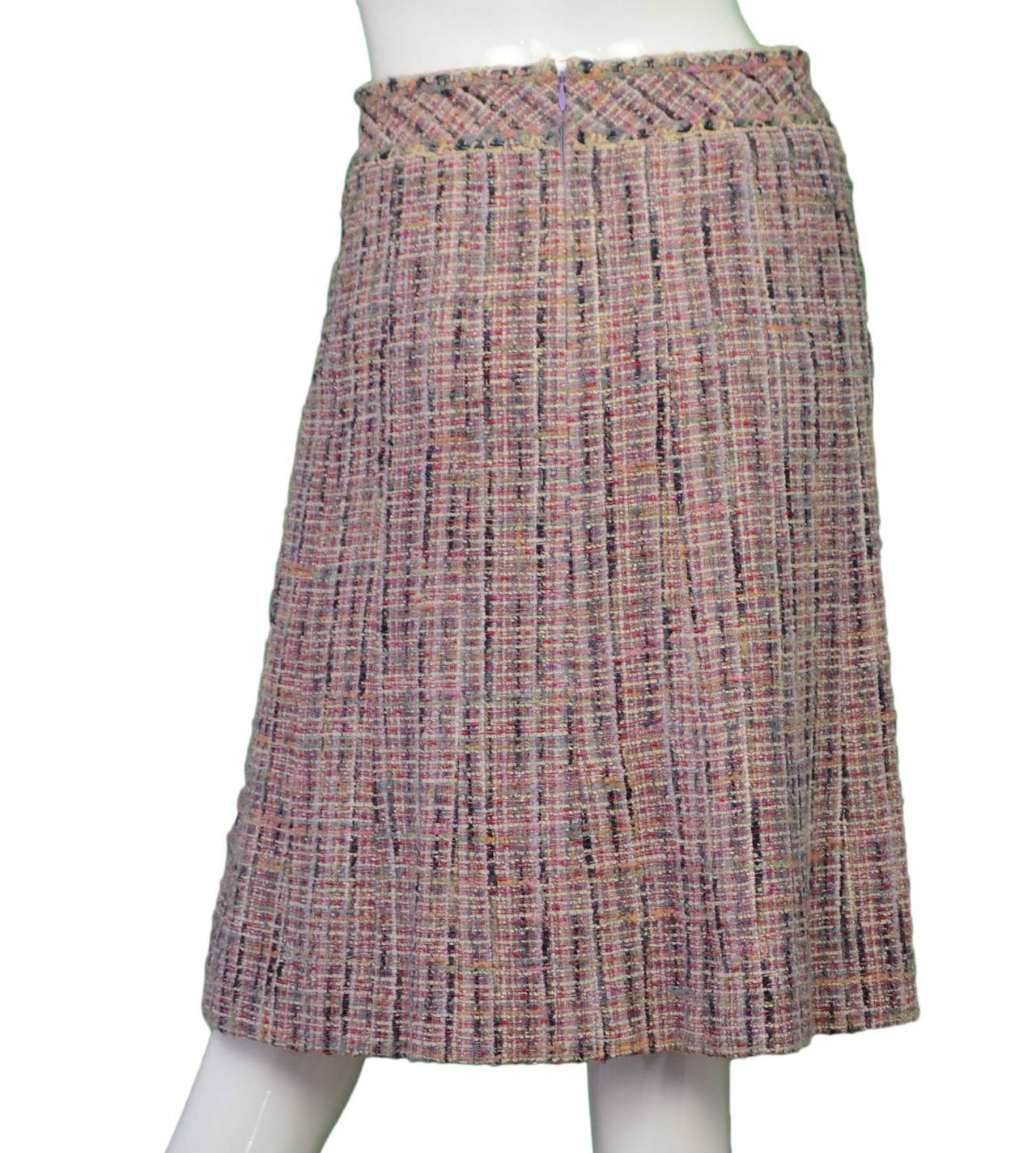 chanel multi colored tweed a line skirt sz 34 for sale at