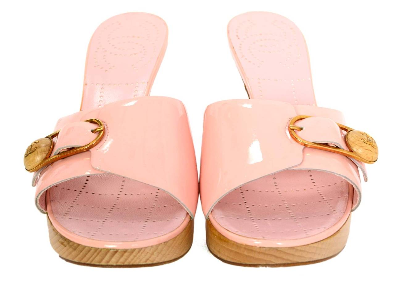 Chanel Pale Pink Patent Leather Open Toe Mules Sz 37 At