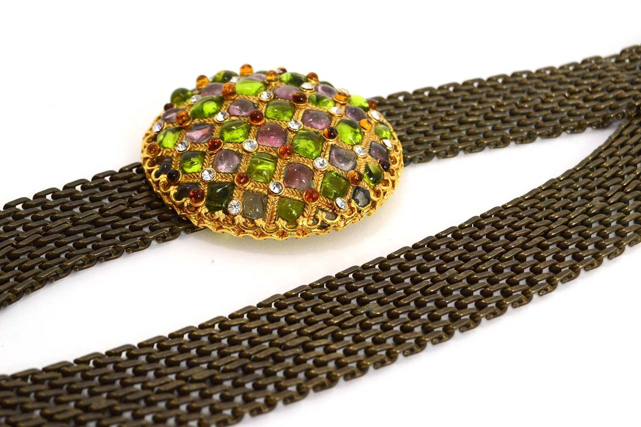 Chanel Vintage '97 Gripoix & Rhinestone Chain Link Belt