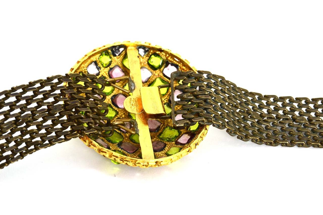 Brown CHANEL Vintage '97 Gripoix & Rhinestone Chain Link Belt For Sale