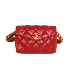 CHANEL Vintage Red Quilted Leather & Chain Link Belt Bag GHW sz 85
