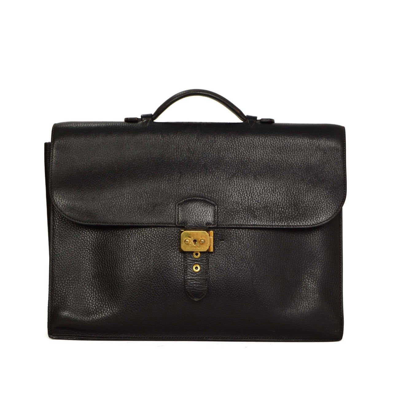 hermes vintage 39 94 black ardennes leather 38cm sac a depeche briefcase ghw at 1stdibs. Black Bedroom Furniture Sets. Home Design Ideas