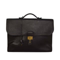 "HERMES Vintage '97 Black Ardennes Leather 38cm ""Sac a Depeche"" Briefcase GHW"
