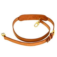 LOUIS VUITTON Tan Leather Bag Strap GHW