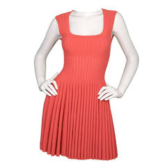 ALAIA Coral Sleeveless Ribbed Fit Flare Dress sz 38