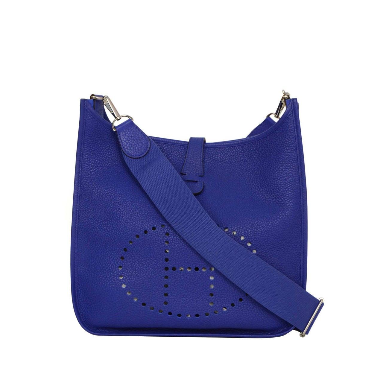 HERMES Blue Electric Clemence Leather Evelyne III Bag GM PHW at ...