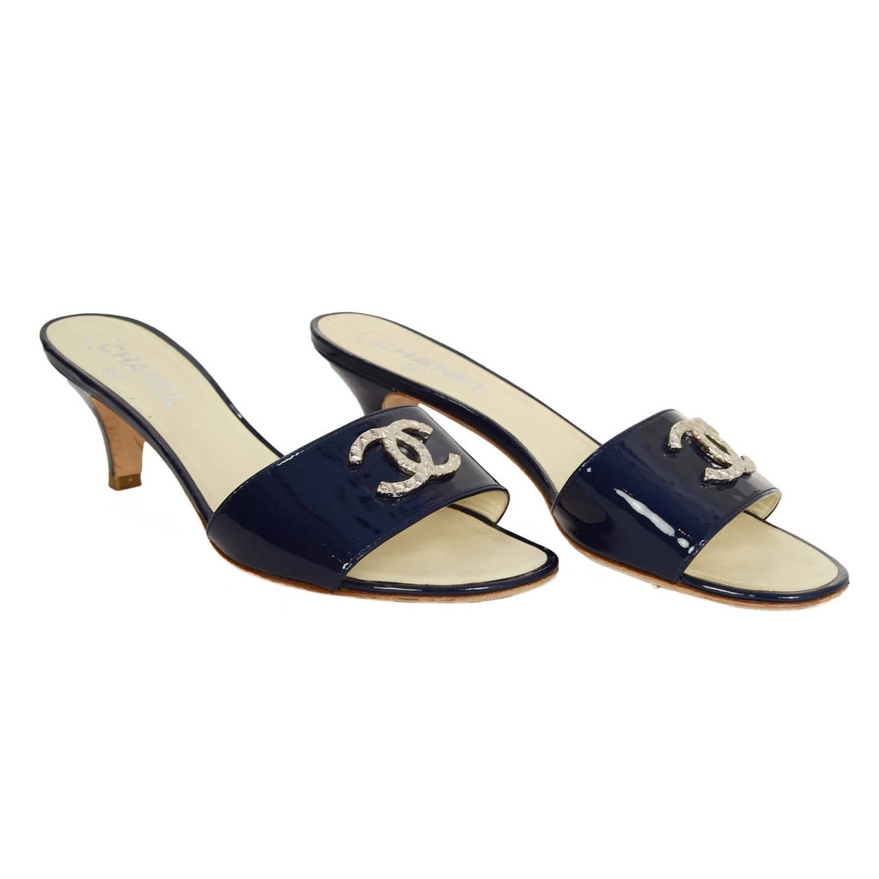 Chanel Navy Patent Mule Sandals Sz 38 For Sale At 1stdibs