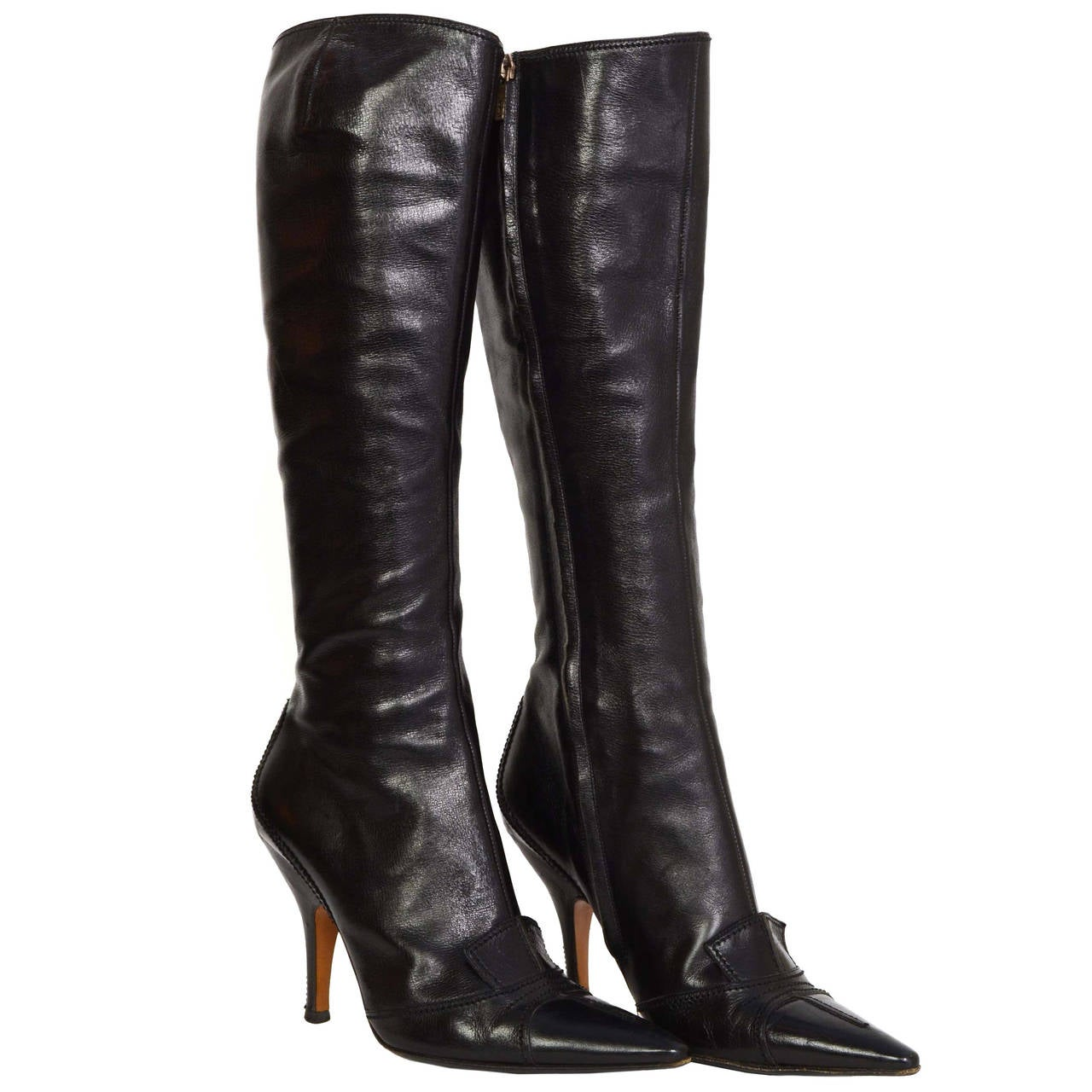 01d5e2992b1 YVES SAINT LAURENT YSL Black Leather Tall Boots sz 37.5 For Sale at ...
